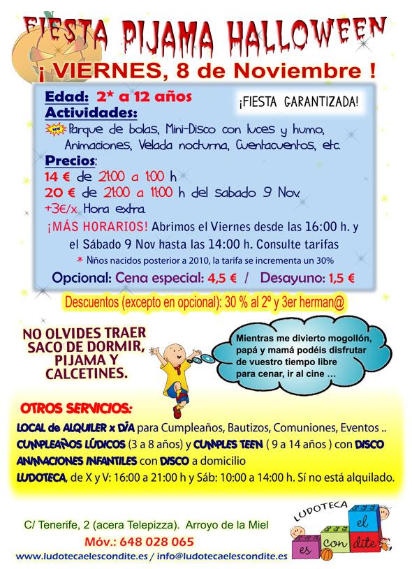 Cartel Fiesta Pijama para niños menores de 12 años. Fecha de celebración 8 de Noviembre del 2013