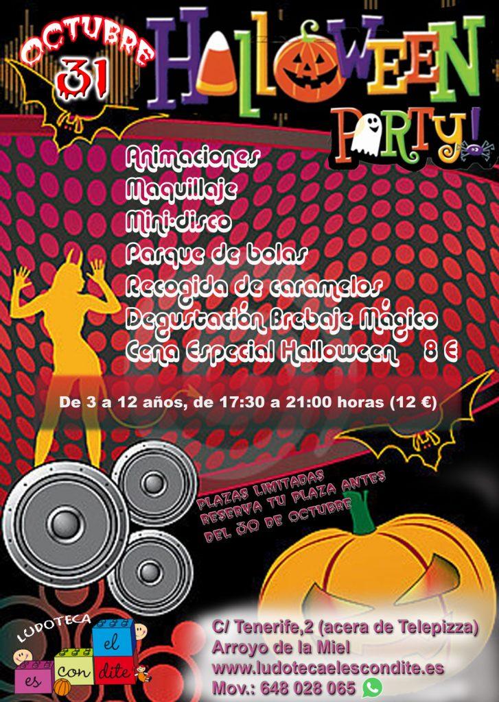 Cartel Halloween 2017 - Organiza la Ludoteca El Escondite