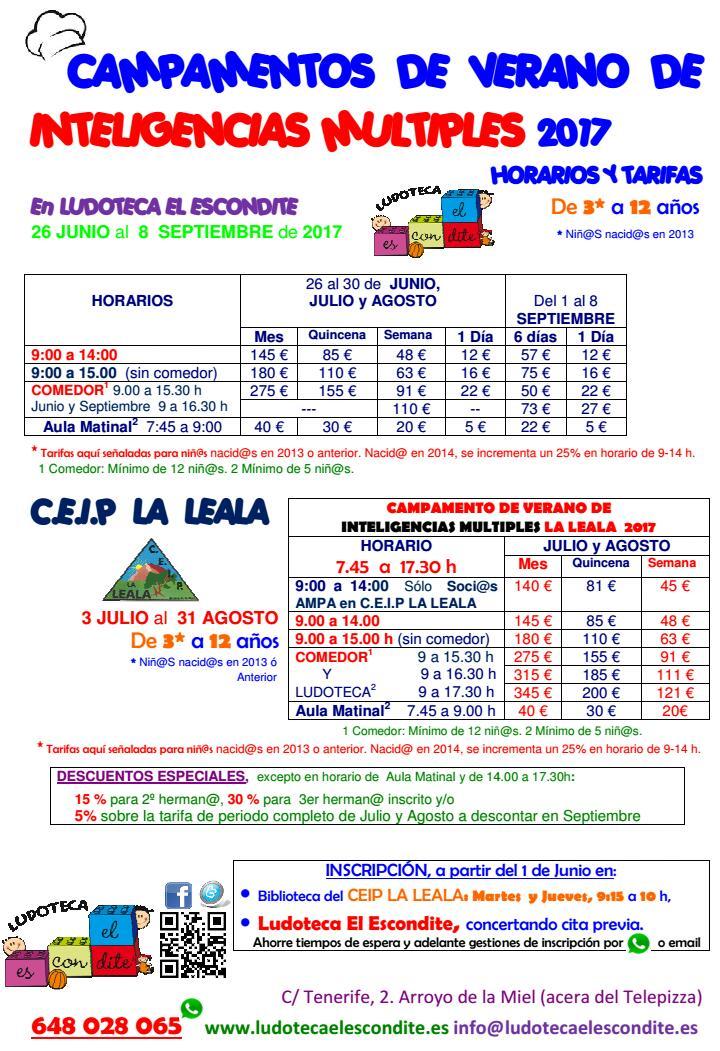 Campamento Verano 2017 Tarifas - Ludoteca El Escondite - Benalmádena - Arroyo de la Miel