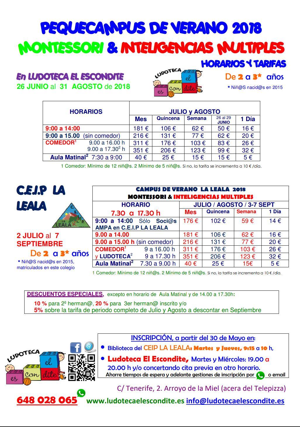 Tarifas campamento de Verano para niños de 2 y 3 años en la Ludoteca El Escondite Benalmadena
