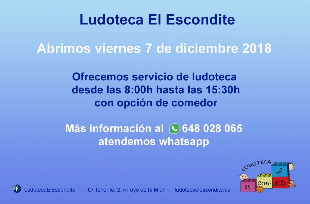 7 de Diciembre, abrimos desde las 8:00 hasta las 15:30, comedor opcional - Organiza la Ludoteca El Escondite