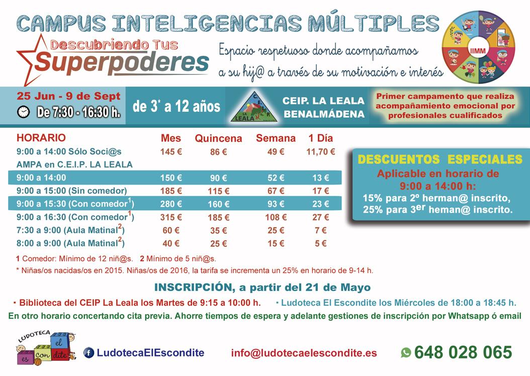Tarifas campamento de Verano para niños de 3 a 12 años en la Ludoteca El Escondite Benalmadena