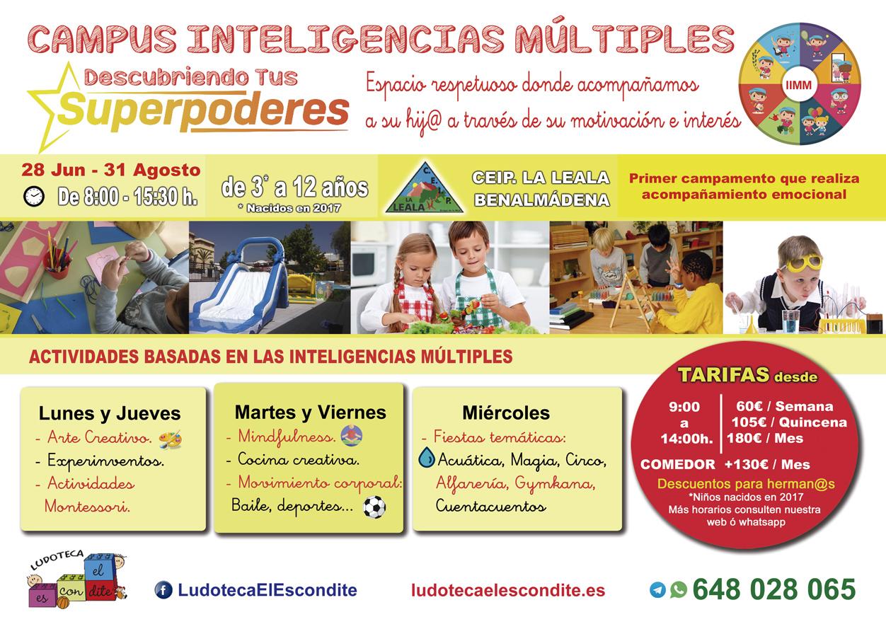 Tarifas Campamento Inteligencias Múltiples, Verano 2021, Benalmádena. Organiza Ludoteca El Escondite.