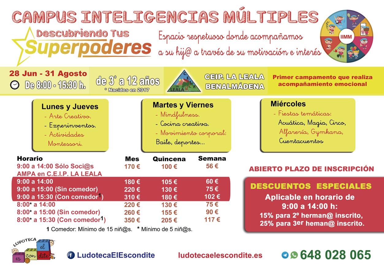 TarifasTarifas Campamento Inteligencias Múltiples, Verano 2021, Benalmádena. Organiza Ludoteca El Escondite.
